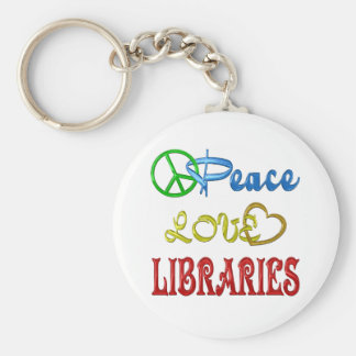 PEACE LOVE LIBRARIES KEY CHAINS