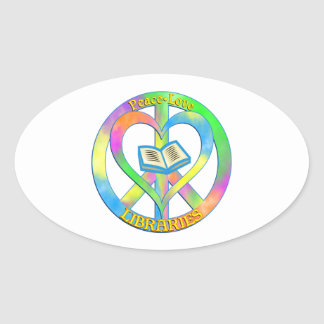Peace Love Libraries Oval Sticker
