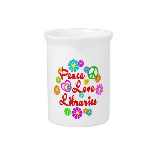 Peace Love Libraries Drink Pitcher
