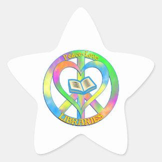 Peace Love Libraries Star Sticker