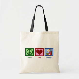 Peace Love Library Canvas Bags