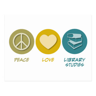 Peace Love Library Studies Post Cards