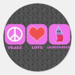 Peace Love Lichtenstein Round Stickers