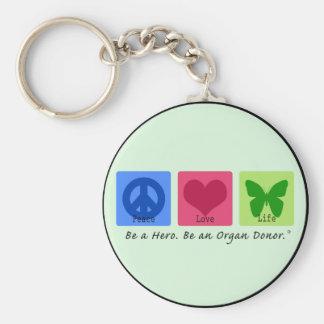 Peace Love Life Basic Round Button Keychain