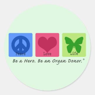 Peace Love Life Classic Round Sticker