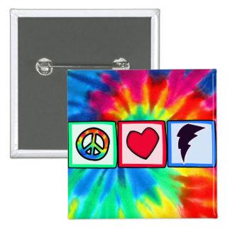 Peace, Love, Lightning Bolt Buttons