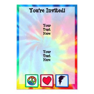 Peace, Love, Lightning Bolt 5x7 Paper Invitation Card