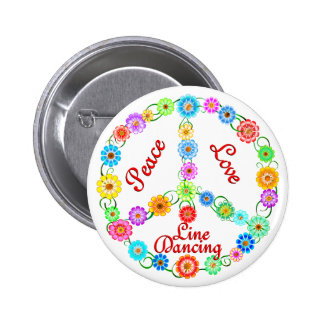 Peace Love Line Dancing 2 Inch Round Button