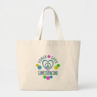 Peace Love Line Dancing Large Tote Bag