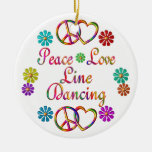 PEACE LOVE LINE DANCING Double-Sided CERAMIC ROUND CHRISTMAS ORNAMENT
