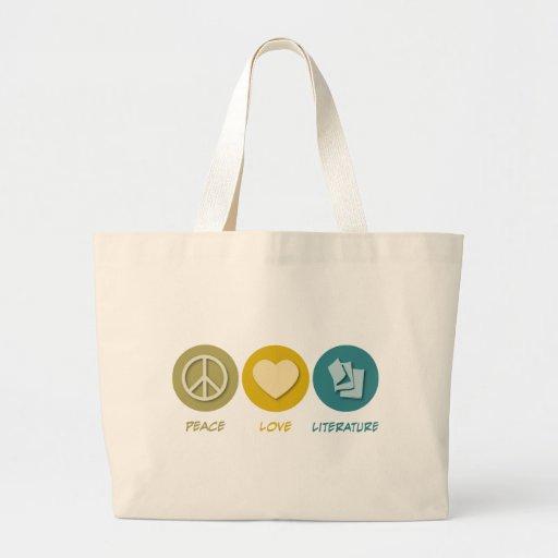 Peace Love Literature Jumbo Tote Bag