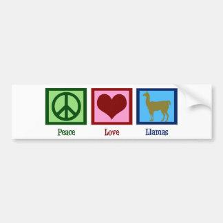 Peace Love Llamas Car Bumper Sticker