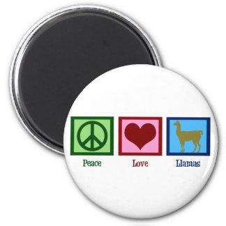 Peace Love Llamas 2 Inch Round Magnet