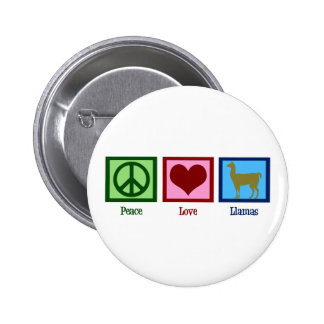 Peace Love Llamas Pinback Button