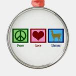 Peace Love Llamas Round Metal Christmas Ornament