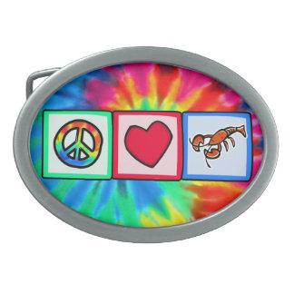Peace, Love, Lobsters Oval Belt Buckles