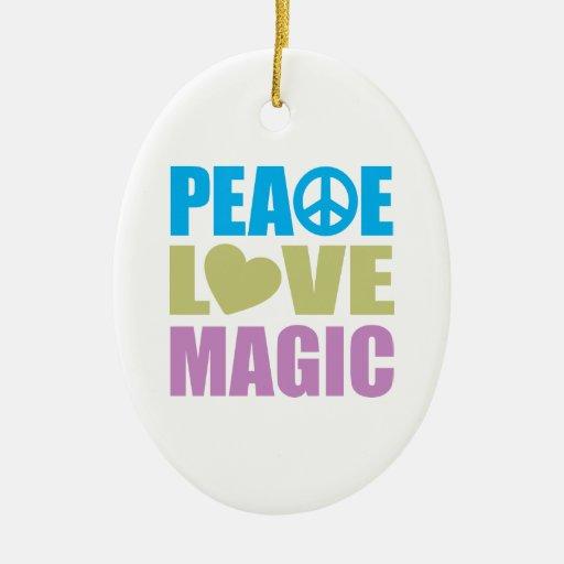 Peace Love Magic Christmas Ornaments