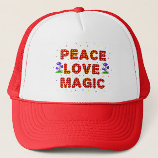 Peace Love Magic Trucker Hat