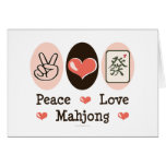 Peace Love Mahjong Blank Greeting Card