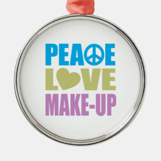 Peace Love Make-Up Round Metal Christmas Ornament