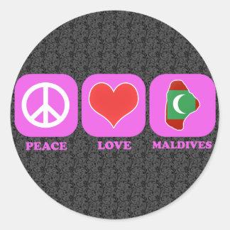 Peace Love Maldives Round Sticker