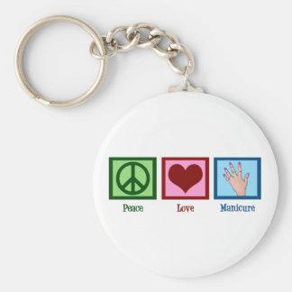 Peace Love Manicure Basic Round Button Keychain