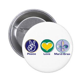 Peace Love Mardi Gras Pinback Button