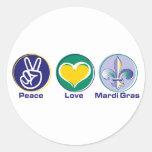 Peace Love Mardi Gras Classic Round Sticker