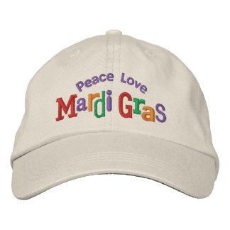 Peace Love Mardi Gras Embroidery Hat Baseball Cap