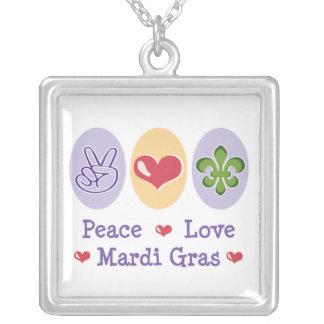 Peace Love Mardi Gras Necklace