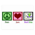 Peace Love Mardi Gras Postcards