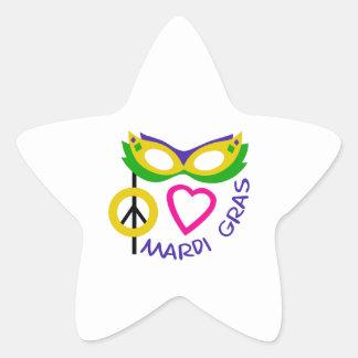 PEACE LOVE MARDI GRAS STAR STICKER