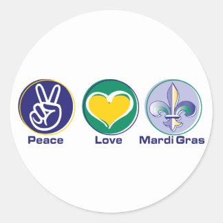Peace Love Mardi Gras Round Stickers