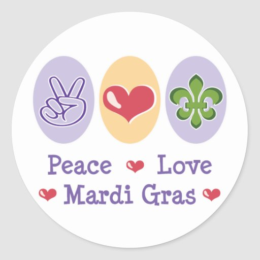 Peace Love Mardi Gras Stickers