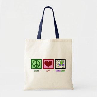 Peace Love Mardi Gras Tote Bag