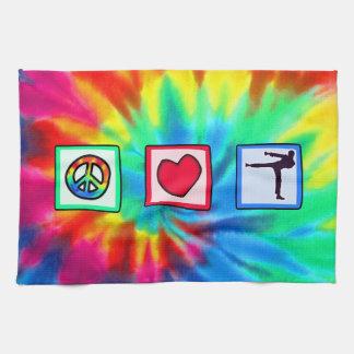 Peace, Love, Martial Arts Kitchen Towel
