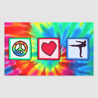 Peace Love Martial Arts Rectangular Stickers