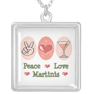 Peace Love Martinis Necklace