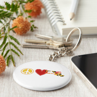 Peace Love Maryland Basic Round Button Keychain