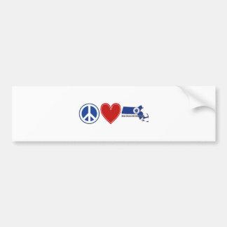 Peace Love Massachusetts Bumper Sticker