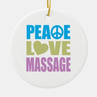 Peace Love Massage Ceramic Ornament