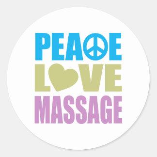 Peace Love Massage Classic Round Sticker