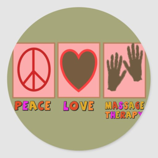 Peace, Love, Massage Therapy Classic Round Sticker