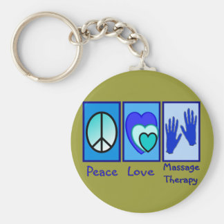 Peace, Love, Massage Therapy Gifts Basic Round Button Keychain