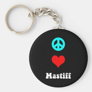 Peace love Mastiff Basic Round Button Keychain