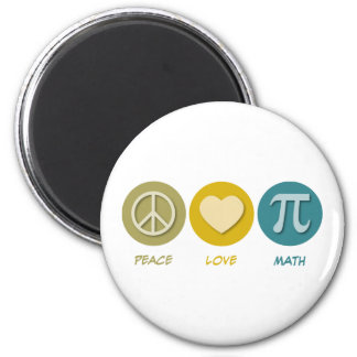 Peace Love Math 2 Inch Round Magnet