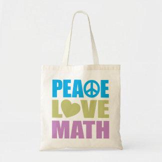 Peace Love Math Budget Tote Bag