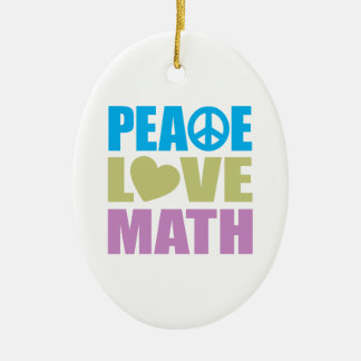 Peace Love Math Double-Sided Oval Ceramic Christmas Ornament