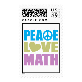 Peace Love Math Postage Stamp