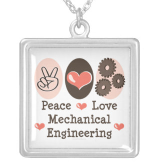 Peace Love Mechanical Engineering Necklace